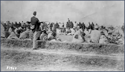 Navajo captives, Bosque Redondo. United States Army Signal Corps, courtesy Palace of the Governors Photo Archives (NMHM/DCA), 028534.