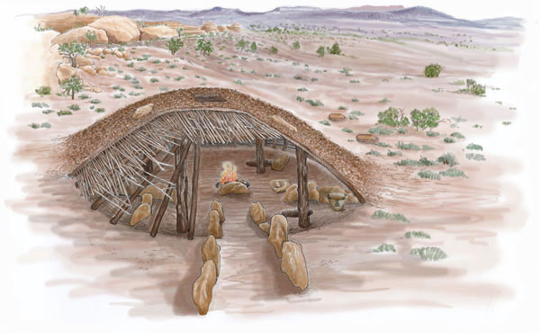 Basketmaker II pithouse. Illustration by Joyce Heuman Kramer; copyright Crow Canyon Archaeological Center.