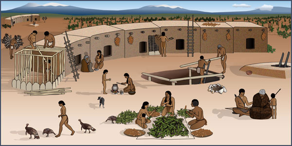 Pueblo I farmstead. Courtesy of the Bureau of Land Management, Anasazi Heritage Center, based on original artwork by Theresa Breznau, Living Earth Studios.