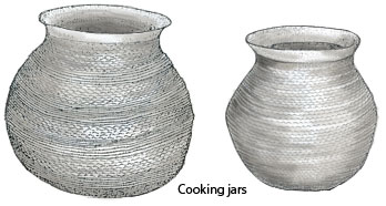 Pueblo III corrugated gray ware pottery. Pen-and-ink drawing by Lee R. Schmidlap, Jr.