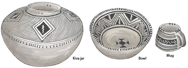 Pueblo III white ware pottery. Pen-and-ink drawing by Lee R. Schmidlap, Jr.