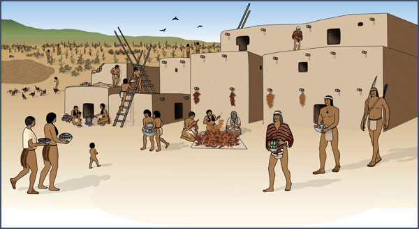 Pueblo II Chacoan great house. Courtesy of the Bureau of Land Management, Anasazi Heritage Center, based on original artwork by Theresa Breznau, Living Earth Studios.