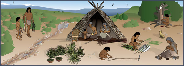 Archaic camp. Courtesy of the Bureau of Land Management, Anasazi Heritage Center, based on original artwork by Theresa Breznau, Living Earth Studios.