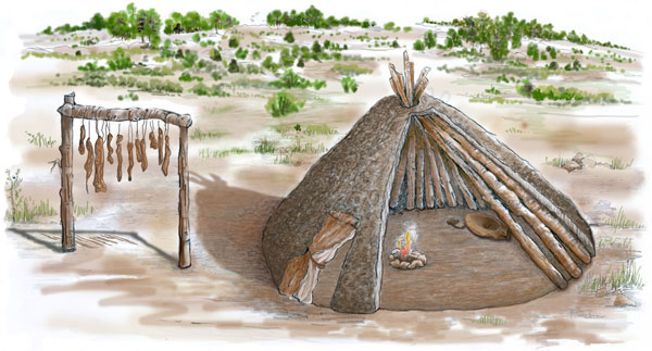 Archaic house and food-drying rack. Illustration by Joyce Heuman Kramer; copyright Crow Canyon Archaeological Center.