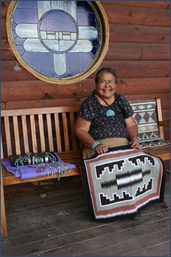 Navajo woman selling rugs and jewelry. Photo by Joyce Alexander; copyright Crow Canyon Archaeological Center.