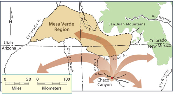 Migration of Pueblo people from the Chaco region to the Mesa Verde region, middle Pueblo II period. Map by Neal Morris and Joyce Heuman Kramer; copyright Crow Canyon Archaeological Center.