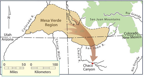 Migration of Pueblo people from the Mesa Verde region to the Chaco region, late Pueblo I period. Map by Neal Morris and Joyce Heuman Kramer; copyright Crow Canyon Archaeological Center.