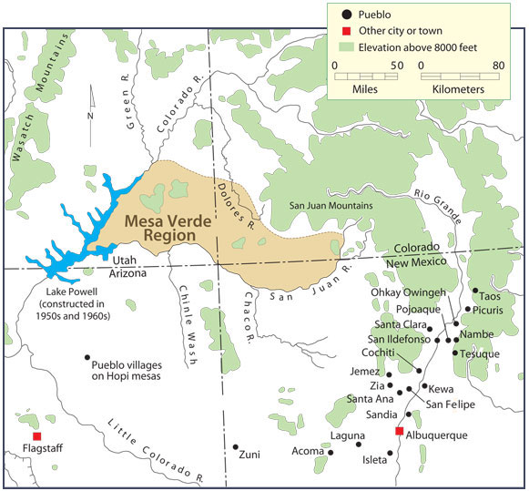 Map of Today\'s Pueblos | Peoples of Mesa Verde