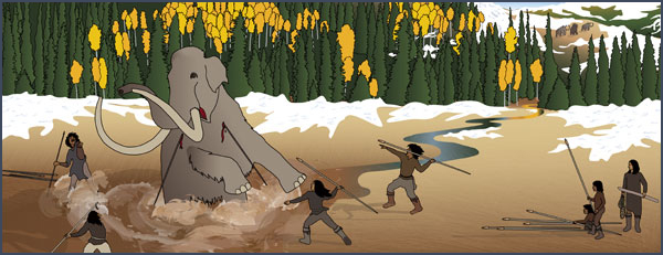 Paleoindian hunters stalk and kill a mammoth. Courtesy of the Bureau of Land Management, Anasazi Heritage Center, based on original artwork by Theresa Breznau, Living Earth Studios.