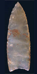 Clovis point. From the collections of the Center for the Study of the First Americans, Department of Anthropology, Texas A&M University.