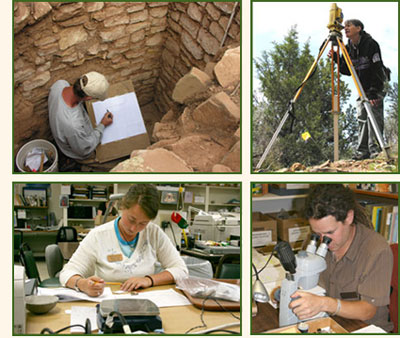 Archaeologists working in the field and in the laboratory.