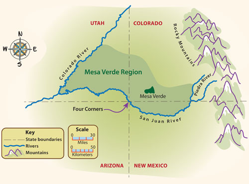 Indians Come From Map Of The Mesa Verde Region