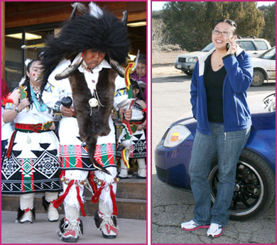 Young Pueblo dancers in traditional costume (left) and Pueblo woman talking on cell phone (right).