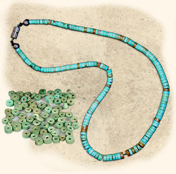 A modern Pueblo necklace and ancient Pueblo beads.