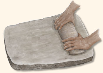 Slab metate and two-hand mano.