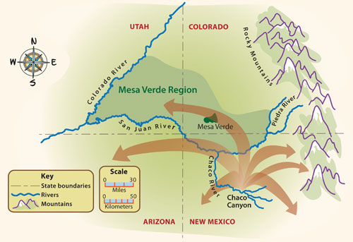 Map showing migration during the Pueblo II period.
