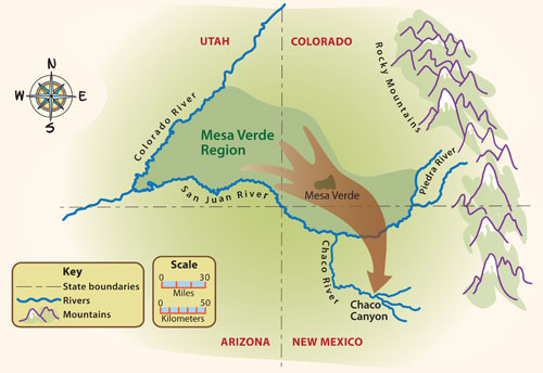 Map showing migration at end of Pueblo I period.