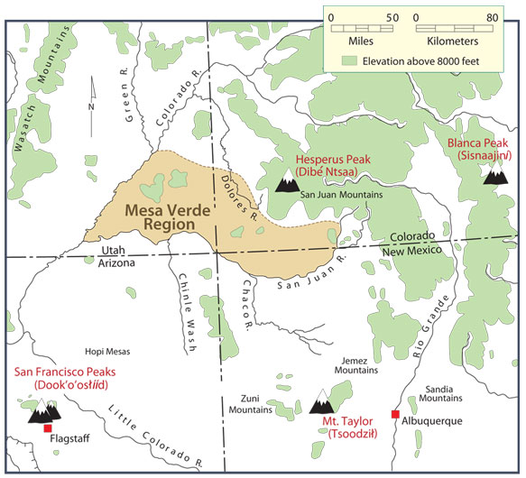 Map Of The Four Sacred Mountains Peoples Of Mesa Verde