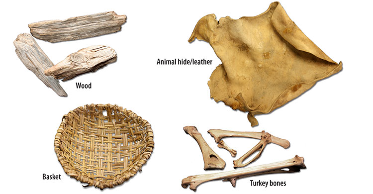 wood basket hide bones